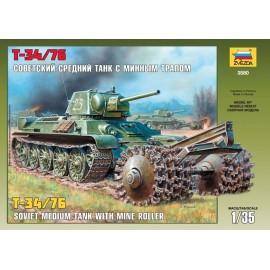 Zvezda 1/35 T-34/76 Soviet Tank With Mine Roller