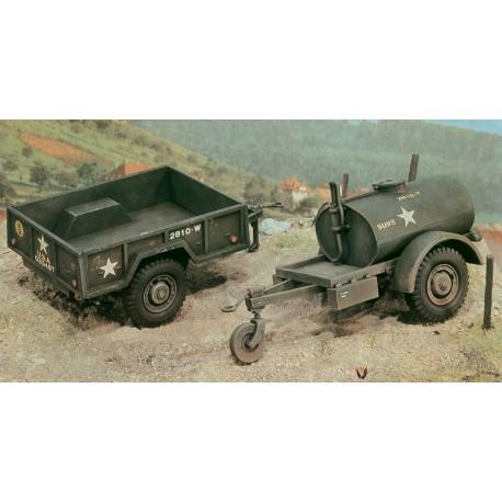 Italeri 250 Gal.s Tank trailer and M101 Cargo trailer