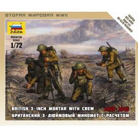 Zvezda 1/72 British Mortar W/Crew 1939-42