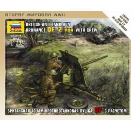 Zvezda 1/72 British Qf 2-Pdr Anti Tank Gun W/Crew