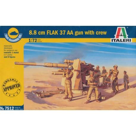 Italeri 1/72 8.8 Cm Flak 37 Aa Gun W/Servants - Include 8 Figurini